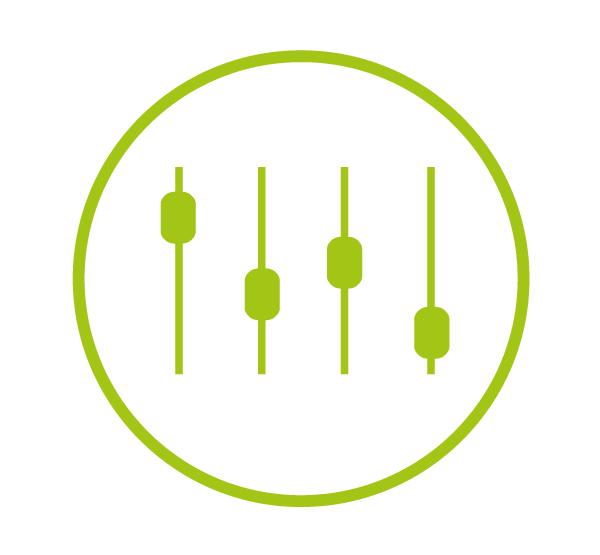 hellgruenes Icon UTM Parameter, Kreis mit kleinen Flaechen auf Linien