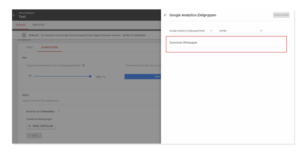 Google Analytics-Zielgruppen in Google Optimize 360 anlegen