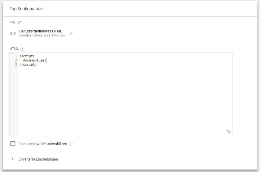 Google Tag Manager JavaScript Fehler