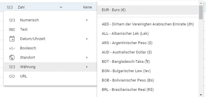 Benutzerdefinierte Metrik in Google Data Studio als Währung festlegen